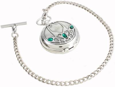 Woodford Archibald Knox Chrome Plated Full Hunter Quartz Pocket Watch - Silver