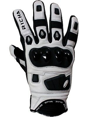 Richa Black-White Rock Motorcycle Leather Gloves