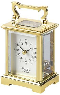 Woodford Anglaise Solid Brass Skeleton Quartz Carriage Clock - Gold