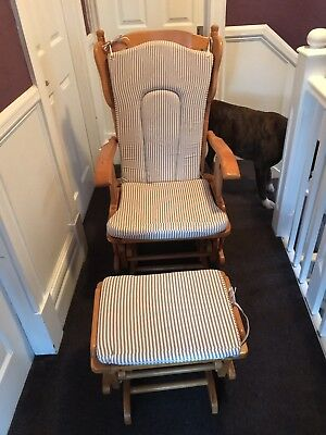 BABY WEAVERS NURSING ROCKING CHAIR WITH STOOL GLIDING GLIDER Wood