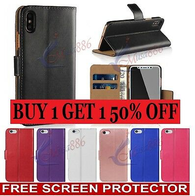 Case for iPhone 7 Plus Real Genuine Leather Flip Wallet Cover