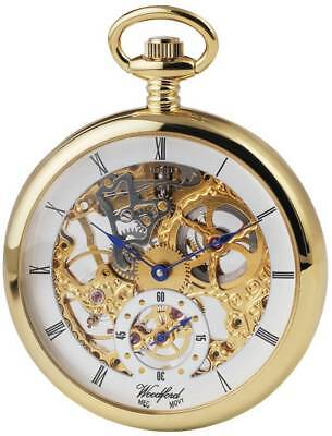 Woodford Gold Plated Open Face Skeleton Pocket Watch - Gold