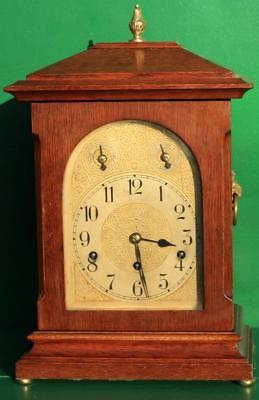 Antique German 8 Day Three Train Musical Mahogany Bracket Clock