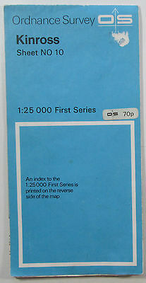 1975 old vintage OS Ordnance Survey 1:25000 First Series Map NO 10 Kinross