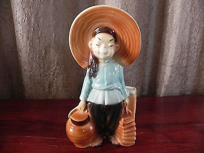 Vintage Royal Copley Pottery Ceramic Chinese Asian Oriental Girl Planter