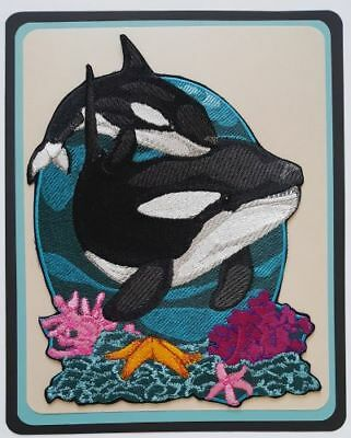 "Whale, Orca, Killer Whale, Marine, Nautical, Embroidered Patch 6.4""x 8.7"""