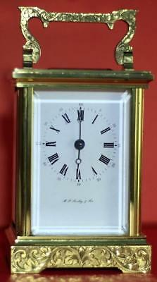 L'epee Vintage French 8 Day Timepiece Carriage Clock Hand Engraved Scroll Work