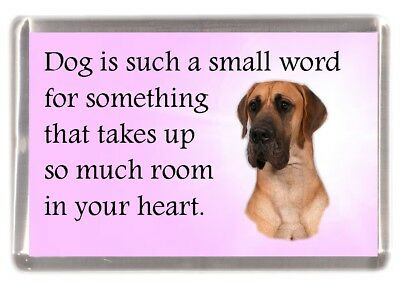 "Great Dane Dog Fridge Magnet ""Dog is such a small word......"" by Starprint"