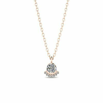 97931eab1f6ab0 14k Modern Rose Gold Diamond Solitaire Pendant Necklace - 0.40 ct D-SI1