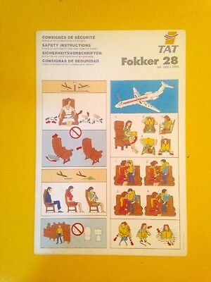 Aircraft Vintage Tat Folker 28 Safety Instructions Ancienne Compagnie Aérienne