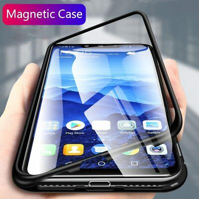 Magnetic Adsorption Metal Flip Tempered Glass Case Cover For Huawei Mate 20 P20