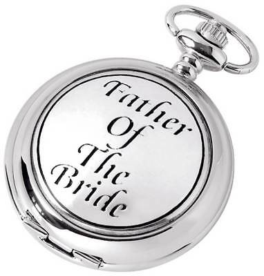 Woodford Father of the Bride Chrome Plated Full Hunter Quartz Pocket Watch - Sil