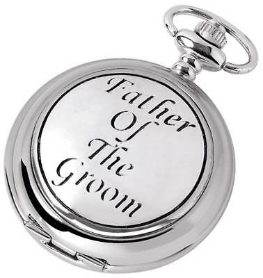Woodford Father of the Groom Chrome Plated Full Hunter Quartz Pocket Watch - Sil