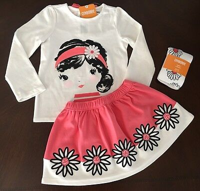 NWT Gymboree Girl Kitty In Pink Ivory Daisy Tee & Skirt & Tights 3 PC Set 4T