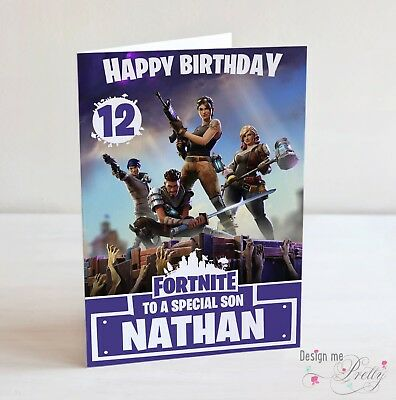 Fortnite Personalised Birthday Card - Any Name Age Relation