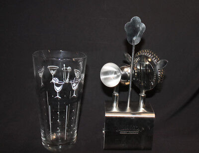Jameson Whiskey 4 piece Stainless Steel Bar Set with Cocktail Recipe Mixer Glass
