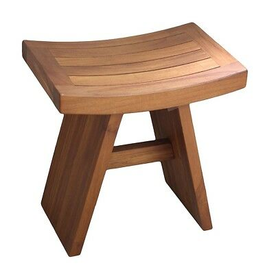 Teak Shower Bench Stool Wooden Bathroom Spa Sauna Seat Safety Tub Indoor Outdoor