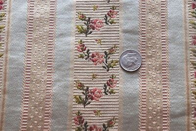 "Antique c1900 French Ice Blue & Pink Rose Silk Brocade Fabric~L-58""X W-11""~Dolls"
