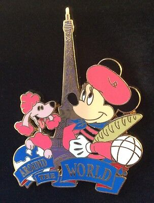 Disney Store Pin LE 100 Around the World Minnie Paris French Poodle Eiffel Tower