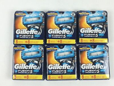 NEW (6) Gillette Fusion 8 Pack Proshield CHILL 48ct Razor Blade Cartridges