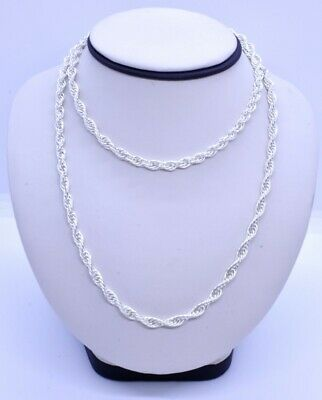 "Milor Italy 32"" 925 Sterling Silver 5mm Long Layering French Rope Chain Necklace"