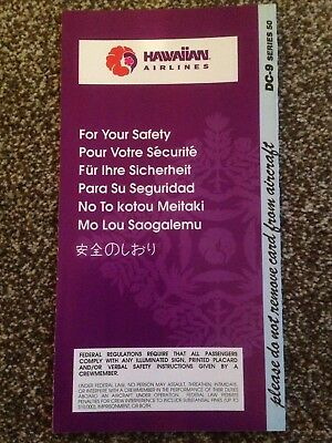 Hawaiian Airlines DC-9 Series 50 Safety Card