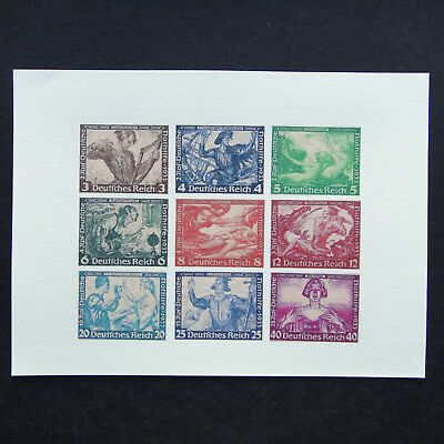 Germany Nazi 1933 Stamps MINT Imperf Sheet German Empire Wagner Nothilfe Reprint