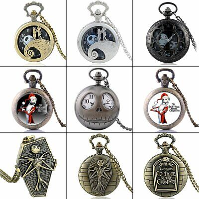 Nightmare Antique Vintage Pocket Watch Quartz Necklace Chain Before Xmas Gift UK