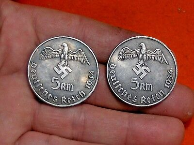 Lot Of 2 - Large 1934 War Eagle Wwii German Fuhrer 5 Reichsmark Collectible Coin
