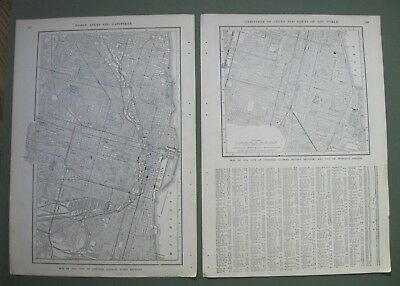1903 Original Antique Maps of Chicago, Illinois with List of Principal Streets