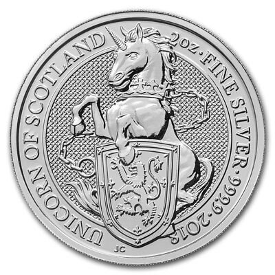 Silver Coin UK Queens Beasts Unicorn of Scotland 2018 - 2 oz 99.99 % pure silver