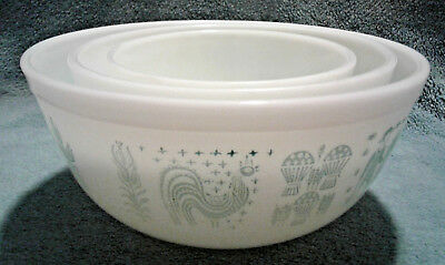 3 VTG 1950's PYREX MIXING NESTING BOWLS AMISH BUTTERPRINT 403 402 401 TURQUOISE