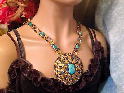 Vintage Egyptian Revival Scarab Beaded Statement Necklace- Estate Piece