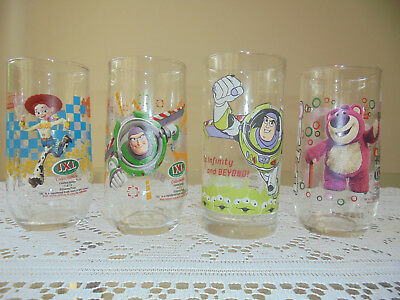 Set Of 4 Ixl Toy Story Limited Edition Glass Tumblers 2 Buzz 1 Jessie 1 Lotso