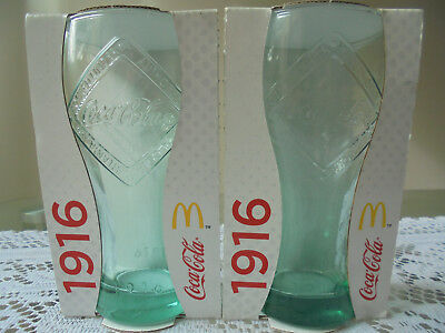 2x COCA COLA MCDONALDS 1916 COLLECTABLE GLASSES NEW IN PACK 2015 Free Aus Post