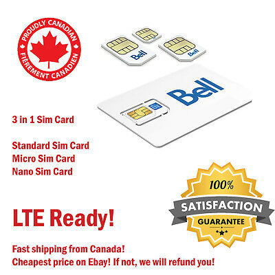 Bce Lte Bell  Mobility 4G Lte Sim Cards - Nano Micro Standard 3 In 1 Combo Nfc