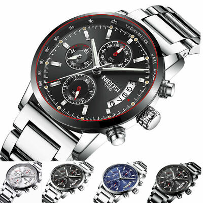 Herren Armbanduhr Analog Chronograph Datum Watch Men Quarz Wasserdicht 3ATM