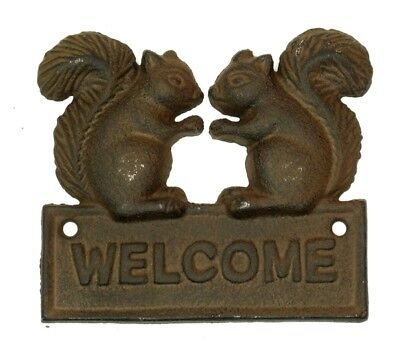 CAST IRON  Squirrel WELCOME Plaque Rustic Brown