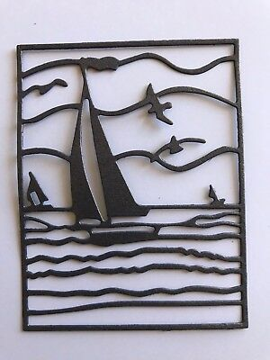 2 Sailboat Sea Scape Paper Die Cuts Scrapbooking Card Topper Embellishments