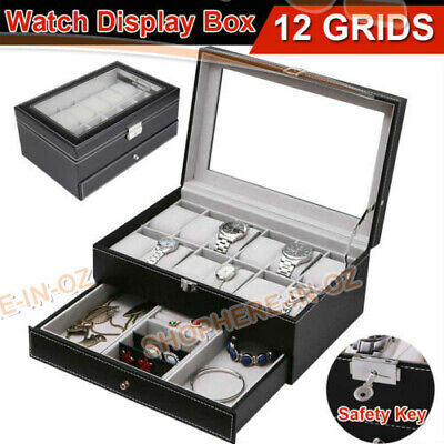 Jewelry Watch Display Case Storage Holder Box Gift 12 Grids Organizer PU Leather