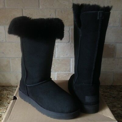 73e938dbcd0 UGG CLASSIC CUFF Tall Water-resistant Black Suede Fur Boots Size US 10  Womens