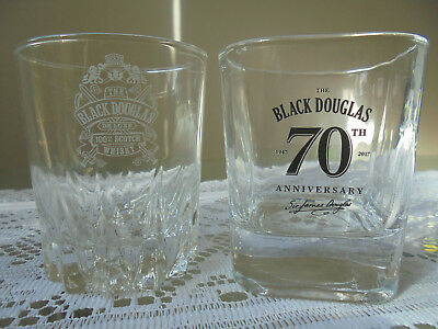 2 RARE BLACK DOUGLAS SCOTCH WHISKY GLASSES ~ Crystal Cut Base Collectable VGC