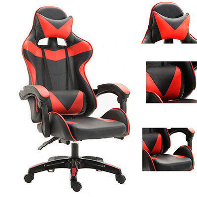 Gaming Chair Racing Chair Office Chair Ergonomic High-Back Leather Chair W/Arms