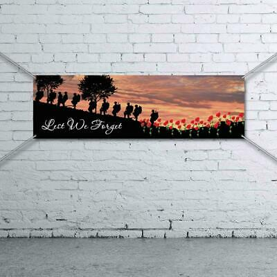 Lest We Forget Banner - Man Cave Shed Garage Bar Army Australia ANZAC Poppy