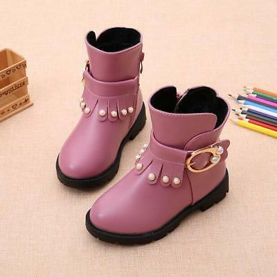 Fashion Children Kids Girls Cute Buckle Strap Round Toe Winter Ankle Boots Size