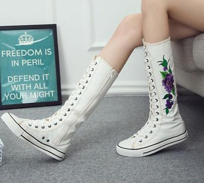 Black/White Embroidery Flower Canvas Knee High Lace Up Zip Flat Sneakers Shoes
