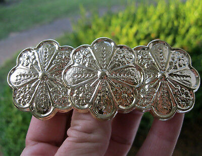 Vintage New Gold Lightweight Flower Metal Hair Barrette French Clip 1980's Nos