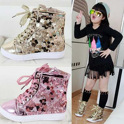 Fashion Sequins Cute Girls Kids Toddler Casual Zipper Flats Ankle Boots Shoes