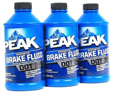 3 Bottles Peak 12 Oz DOT 3 & 4 Synthetic Brake Fluid Meets Safety Standard 116