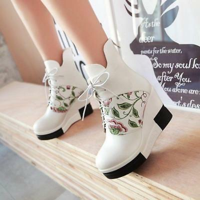 18 Women Fashion Wedge Super High Heels Platform Lace up BlingBling Ankle Boots